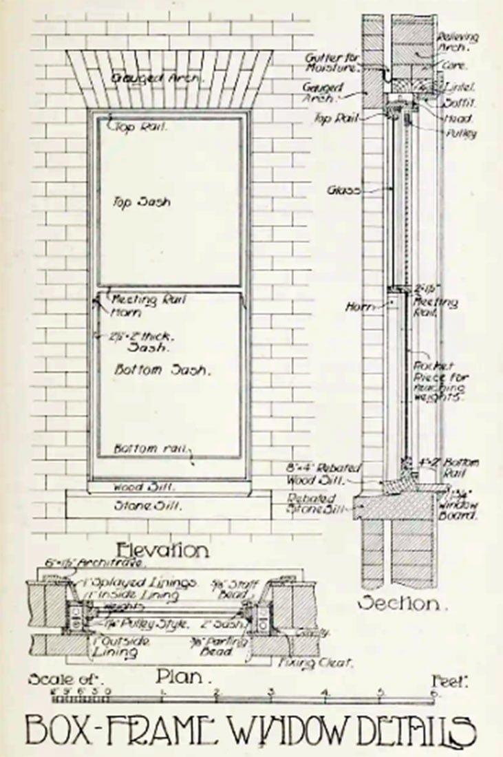 Box Frame Sash Window Drawing - 1908