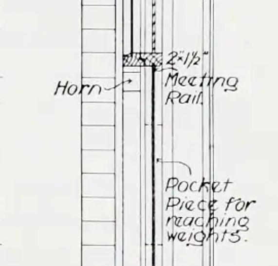 Box Frame Sash Window Drawing - 1908 - meeting rail section enlarged