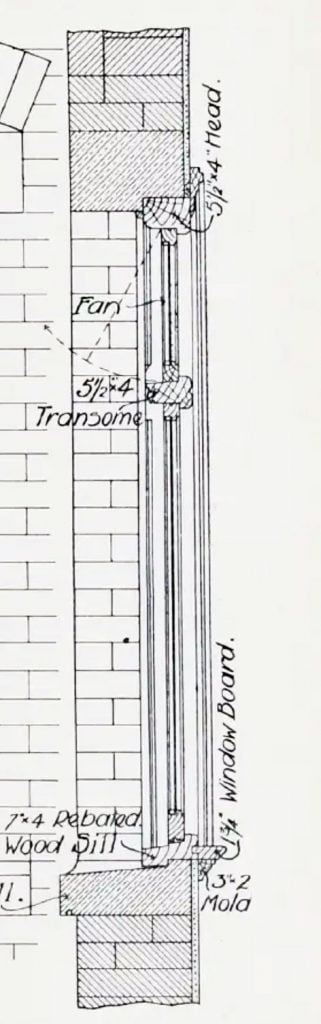 Architect drawing of casement window - 1908 - side enlarged