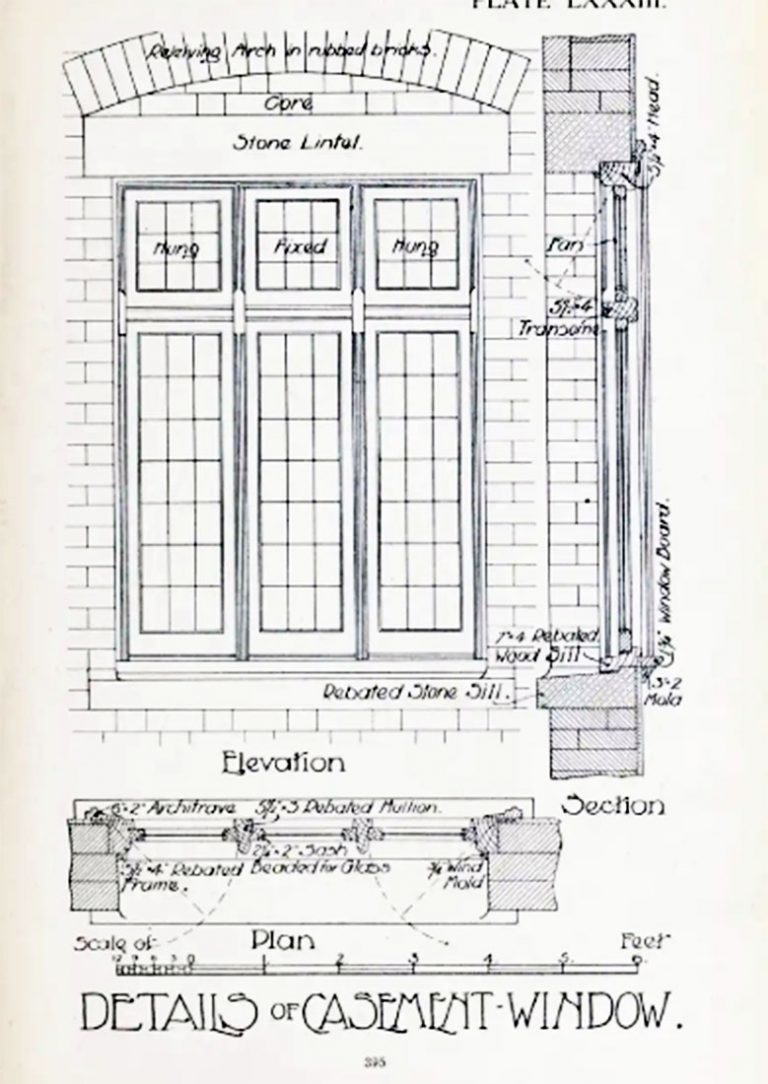 Architect drawing of casement - 1908