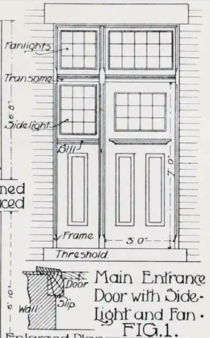 Front Door with Side and Fan lightDrawing - 1908