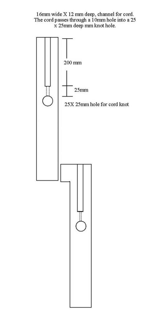 sash window drawing - cord grooves