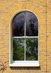 Timber Sash Window. Round head 2 pane over 2 pane.
