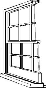 drawing of box sash window