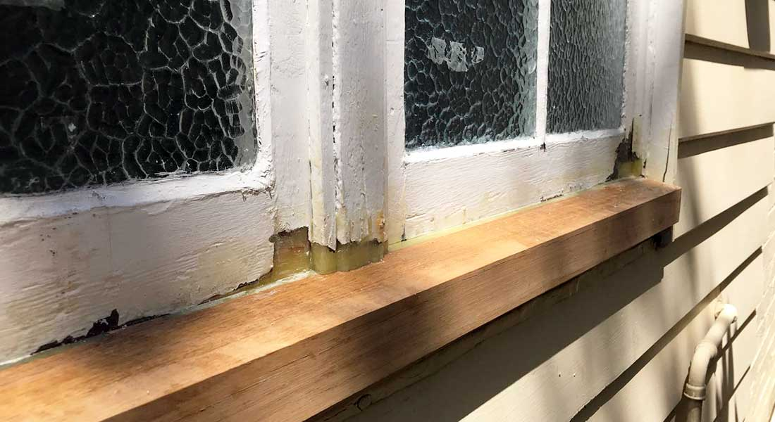 Casement window repair with new sill. Sydney NSW