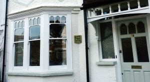 London Sash Window Specialist. Castellated Pattern timber sash windows. double glazing & draught excluders. Harrow London
