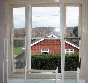 Windsor Berks Venetian Sash Window being draught sealed & restored.