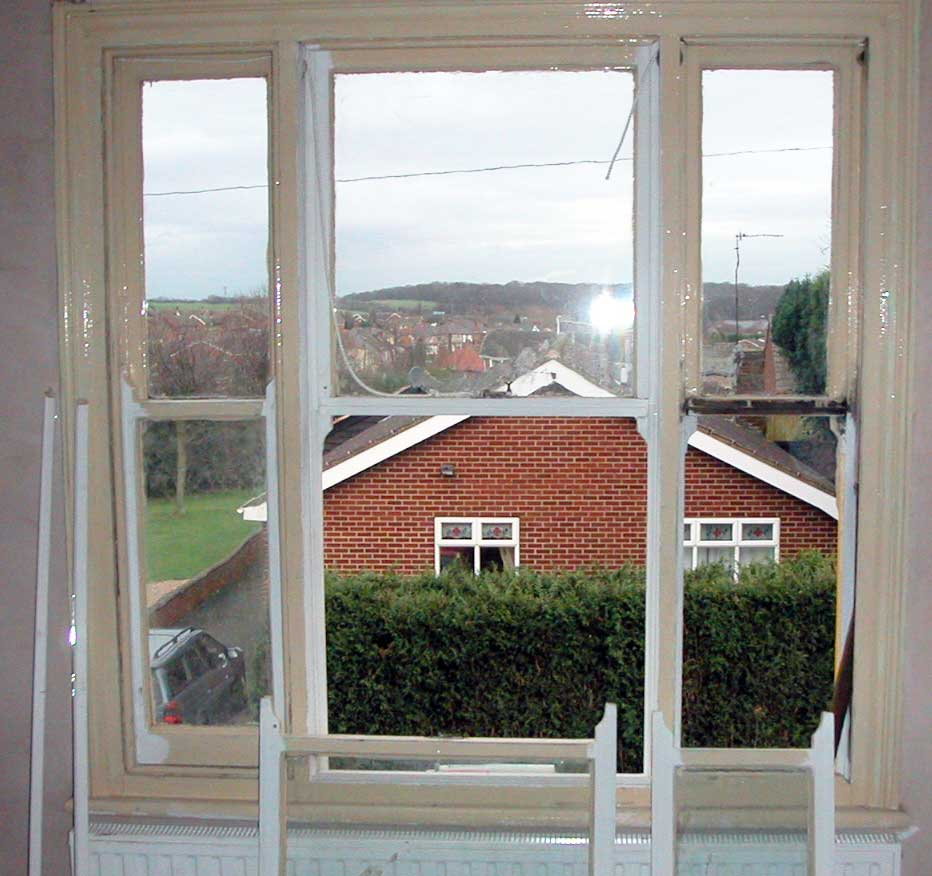Windsor Berks Venetian Sash Window being draught sealed & restored.