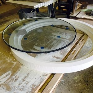 Bespoke round window replica made in our sash window workshop in Reading, Berks.