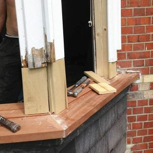 Repair wooden bay window. Wokingham, Berkshire UK