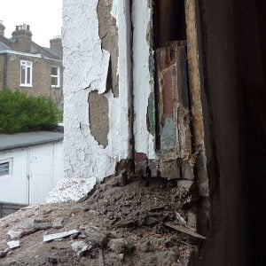 Kilburn, North West London. Rotten period windows being reinstated to double hung system.