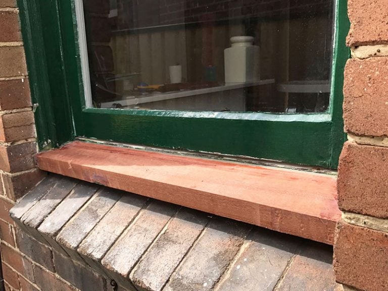 Hardwood window sill fitted to old federation window.
