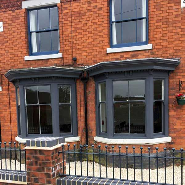 Paint finished sash windows in Ashby, Leicestershire.