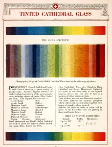 1923 Pilkington - Cathedral Glass Colour Tints