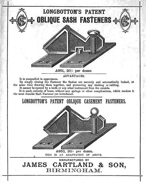 oblique sash fastener 1887