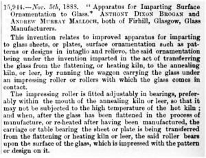 1888 Glasgow Rolled Plate Glass Patent
