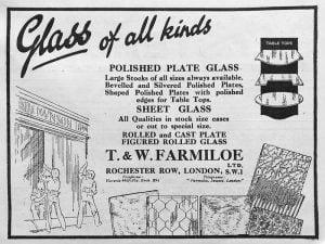 T. and W. Farmiloe Glass Advert