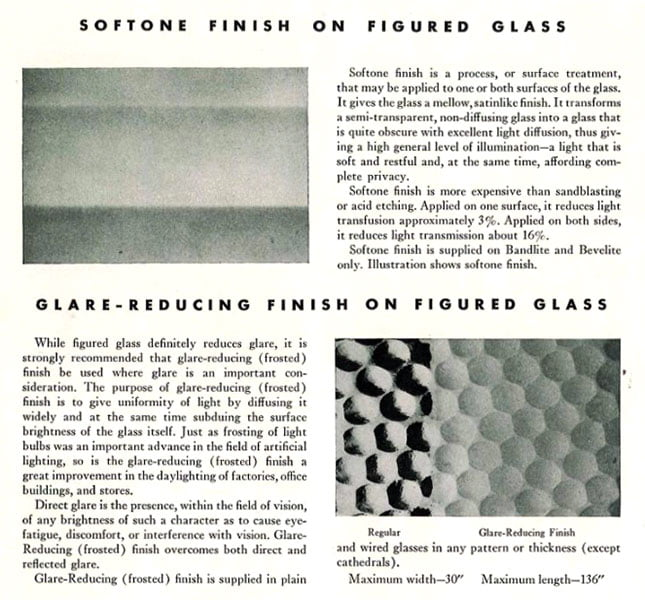 Frosted Figured Rolled Glass for Glare Reduction