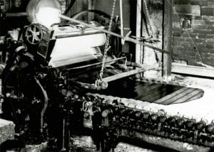 Chance Brothers Figured Rolled Glass Machine In Operation.